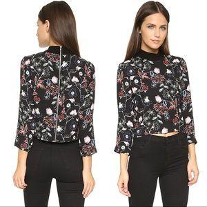 🌈 SOLD 🌈 A.L.C. Desin silk floral crop top zip